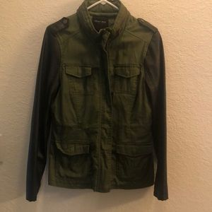 Faux leather sleeve arm green color jacket
